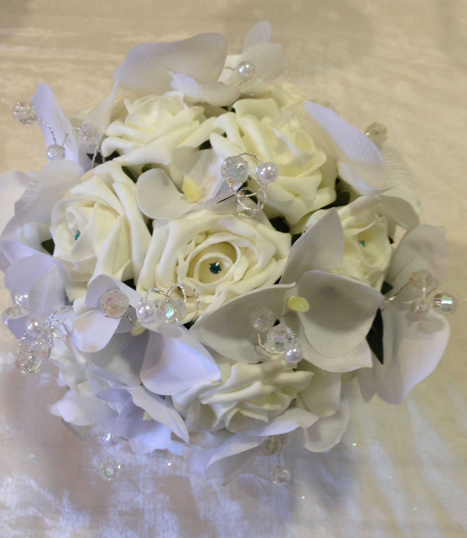 Classic White And Ivory Silk Roses And Phalaenopsis With Pearl