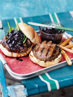 Beef and Chorizo Burgers with Beetroot Relish