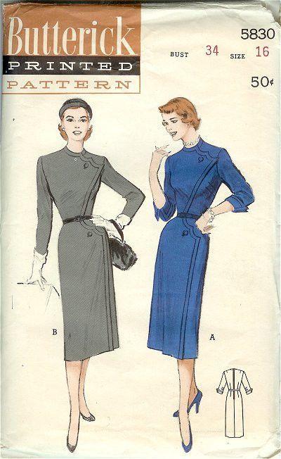 Vintage 1950s Ladies One Piece Dress Butterick Pattern 5830, Bust 34 ...