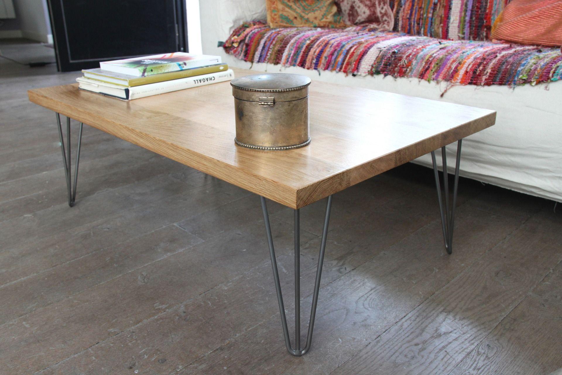 table basse bois massif et pied pingle acier vernis - Pied De Table En Bois Massif