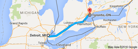 Map From Detroit Mi To Toronto On Canada Drive Time Is 3 H 50 Min