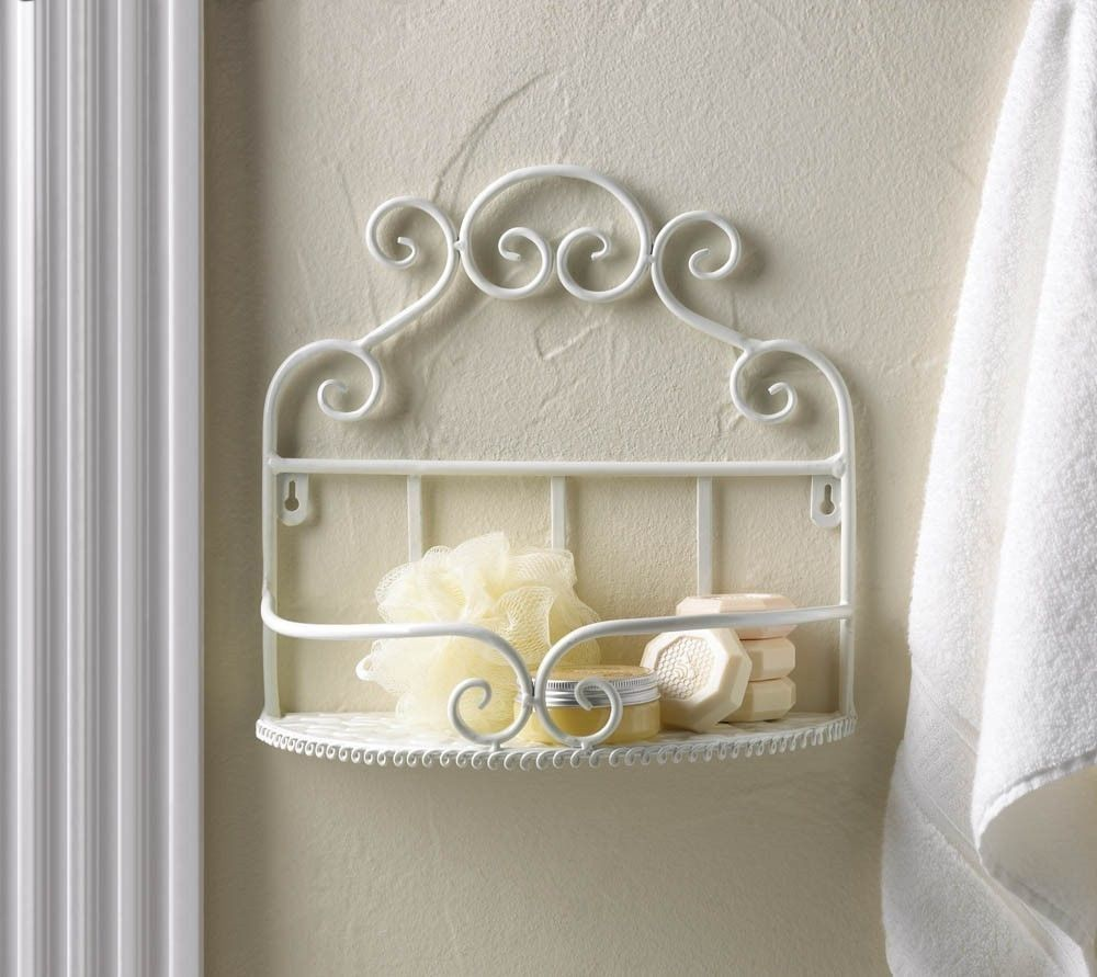 Bathroom Kitchen White Wrought Iron Scrolls Wall Shelf French - Wrought iron bathroom wall shelves