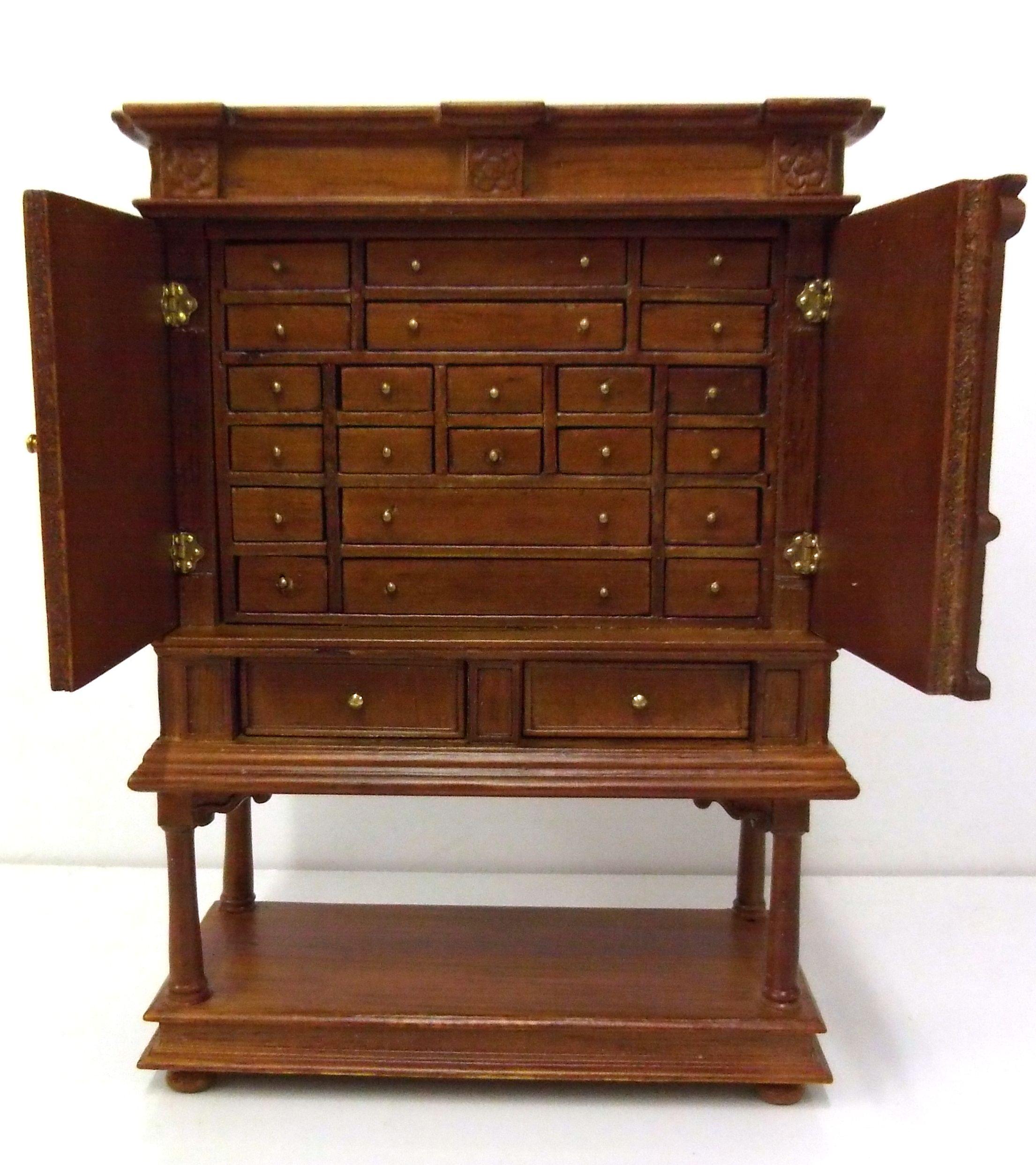 Dolls House Fine Miniature 1 12 Furniture Jiayi Jia Yi Walnut Apothecary  Cabinet