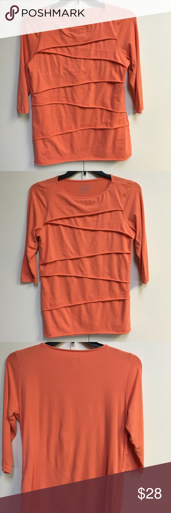 Double layer front funky orange tunic So cute and comfortable thanx to the cotton/spandex blend. 3/4 sleeves. neon buddha Tops Tunics