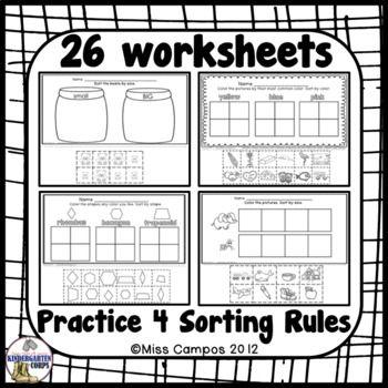 Pin On Math For K1 Kindergarten sorting worksheets