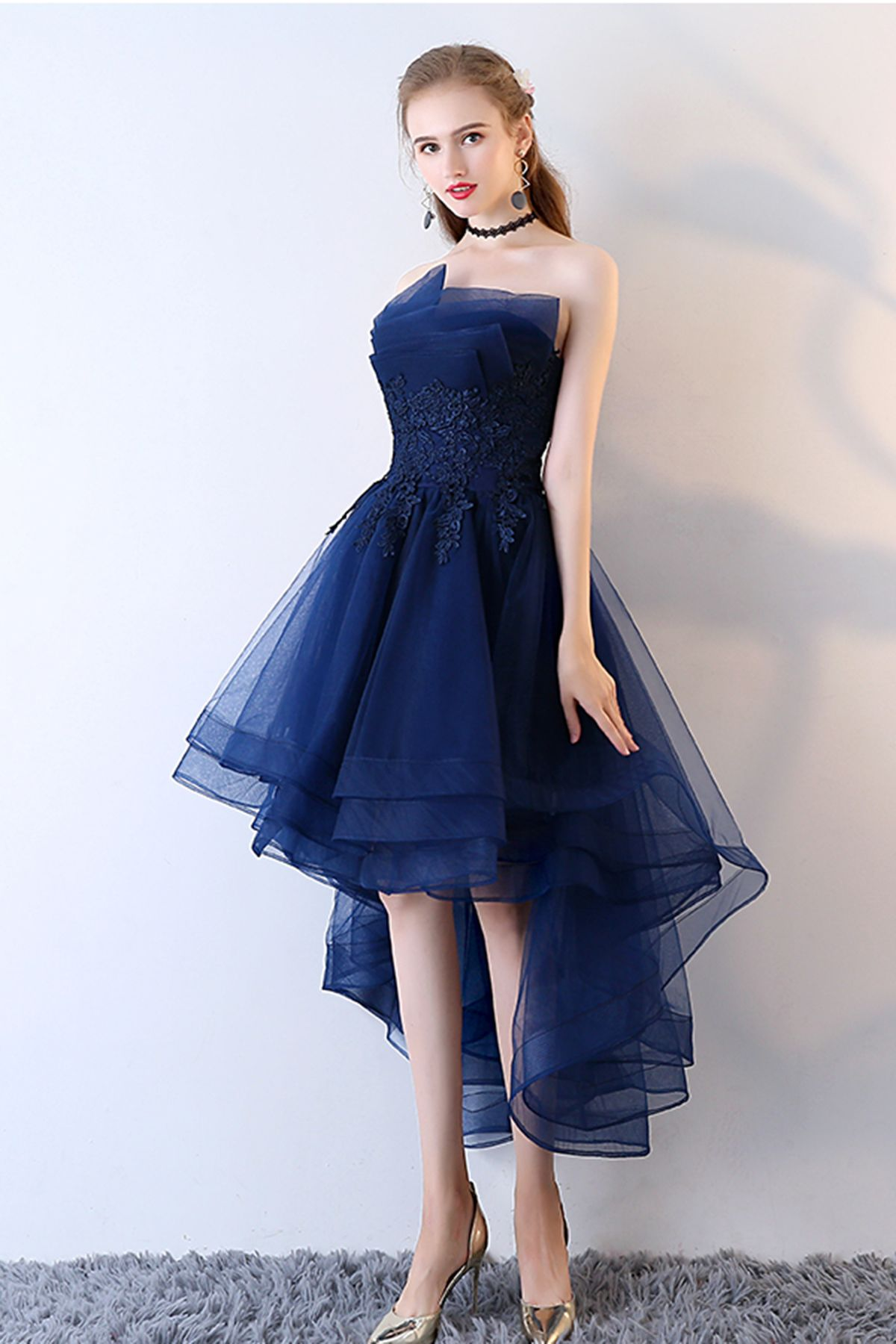 Cute navy blue tulle high low prom dress for teens #promdress