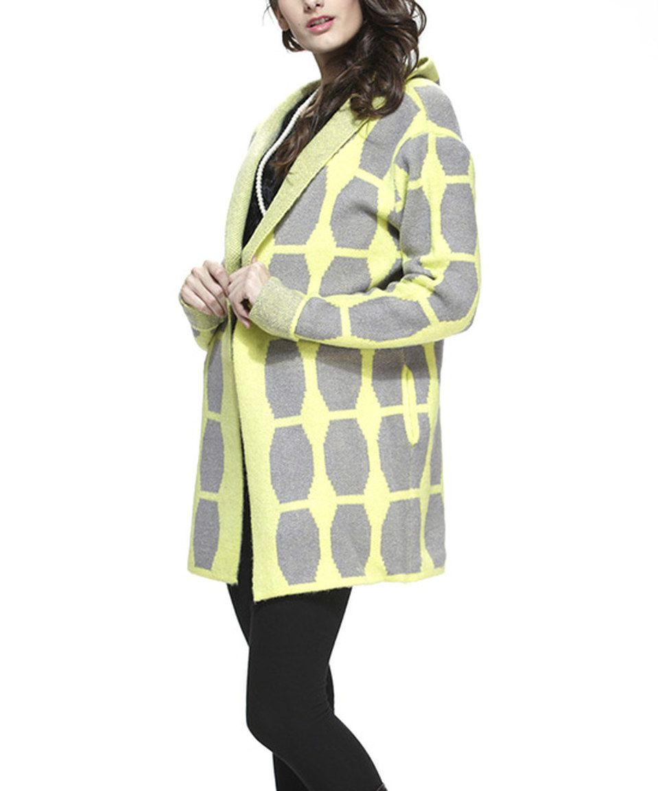 Look at this #zulilyfind! Simply Couture Yellow & Gray Hooded Open Jacket by  #zulilyfinds