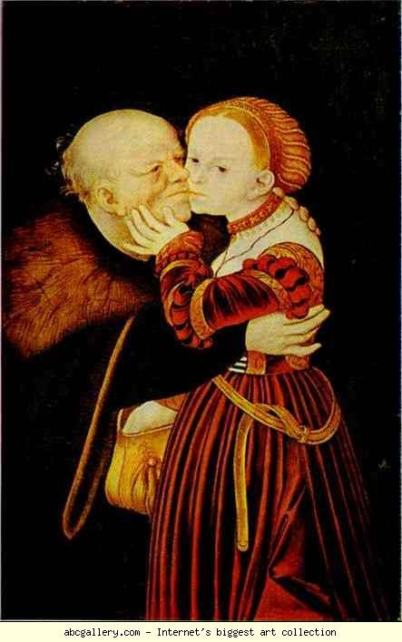 Lucas Cranach the Elder. The Adoring Husband. She looks thrilled. These German artists seem to be obsessed with the idea of the odd-matched couple and the suicide of Lucretia