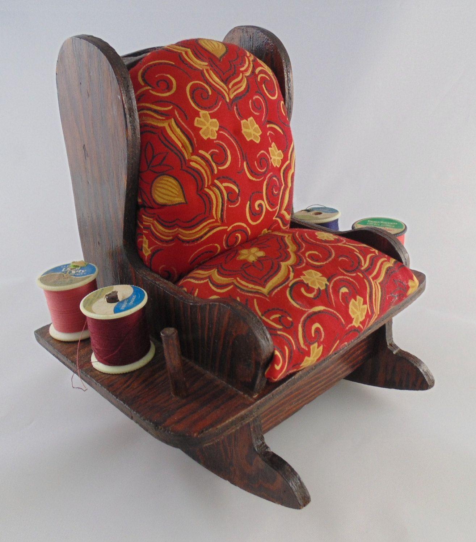 Vintage Handmade Wooden Rocking Chair Sewing Caddy Pincushion