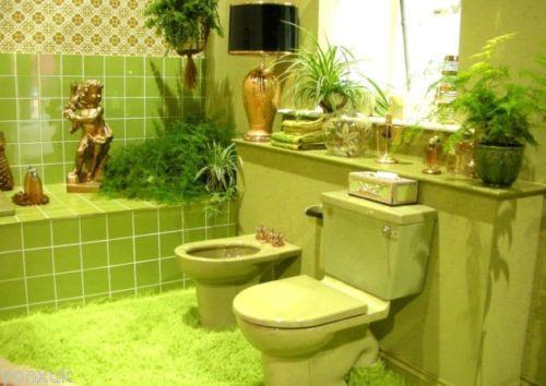 Retro 1970s Avocado Bathroom Toilet Green Bathroom Modern