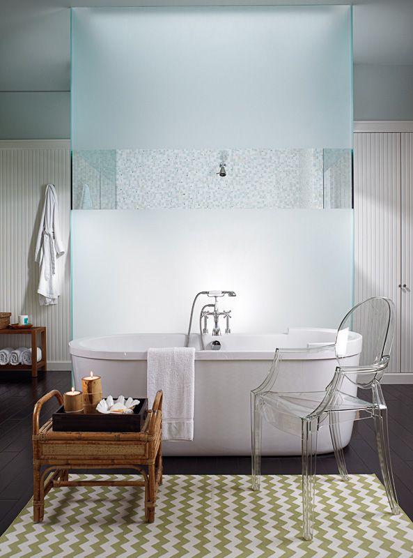 Freestanding tub in front of glass shower | Everett Sub-Zero ...