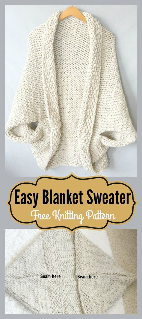 Easy Blanket Sweater Free Knitting Pattern | Crafts | Pinterest ...