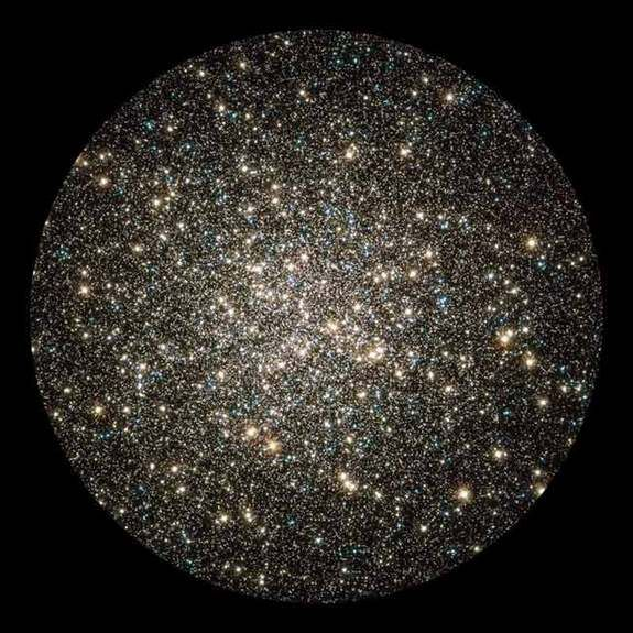 Hubble catches an instantaneous glimpse of many hundreds of thousands of stars moving about in the globular cluster M13.