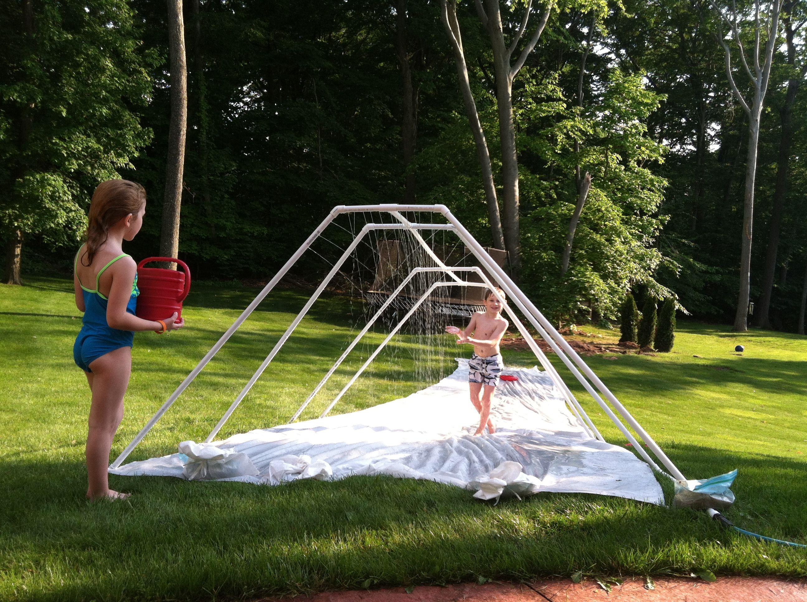 I made it! DIY slip-n-slide with a diy pvc pipe sprinkler ...