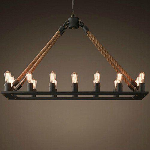 Perfectshow 16 Lights Hemp Rope Metal Rustic Country Style Pendant Lamp Island Http
