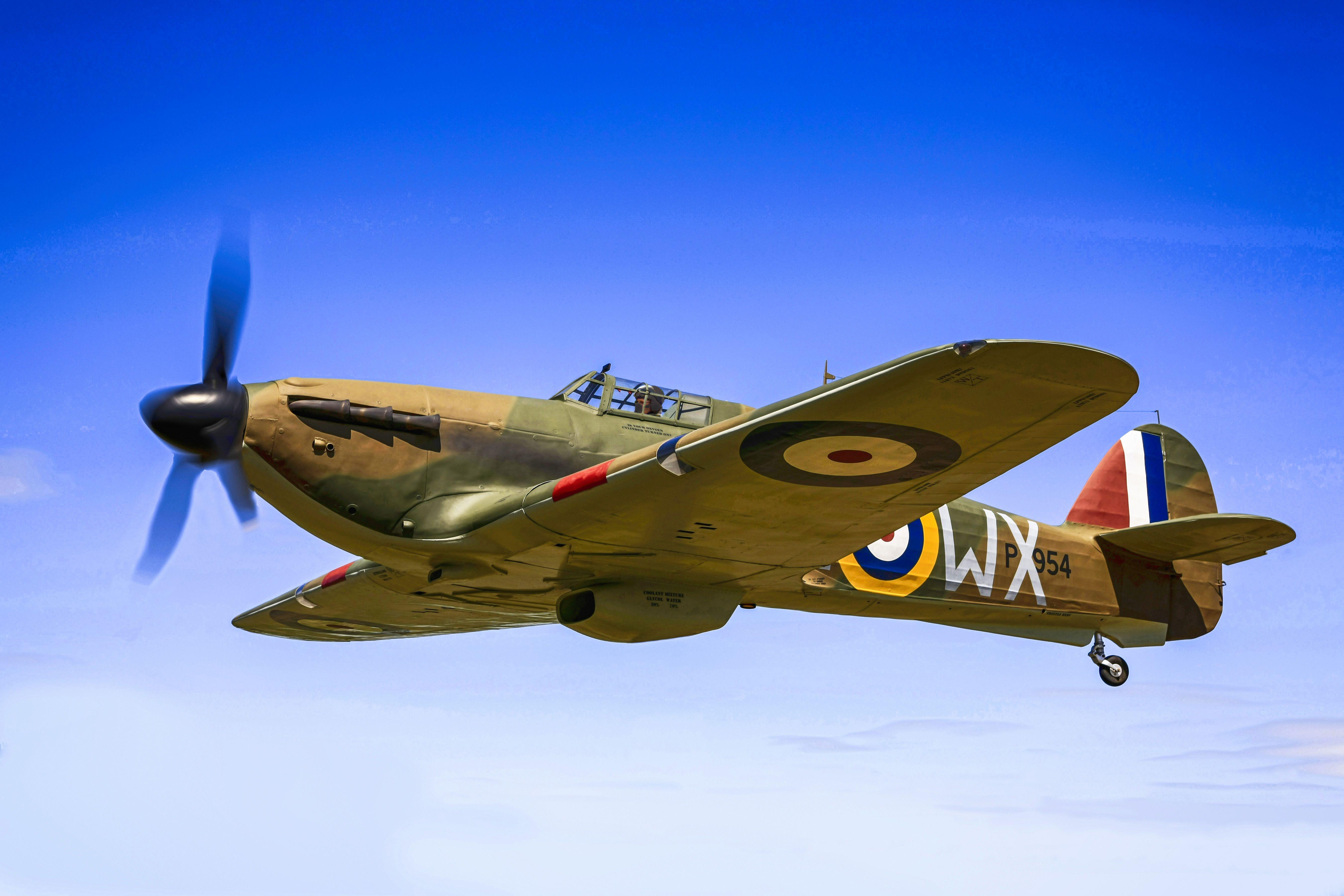 raf battle of britain hawker hurricane fighter plane vintage