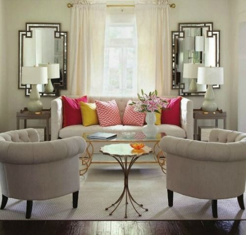 Accessorise with Mirrors and colourful cushions #LivingRoom