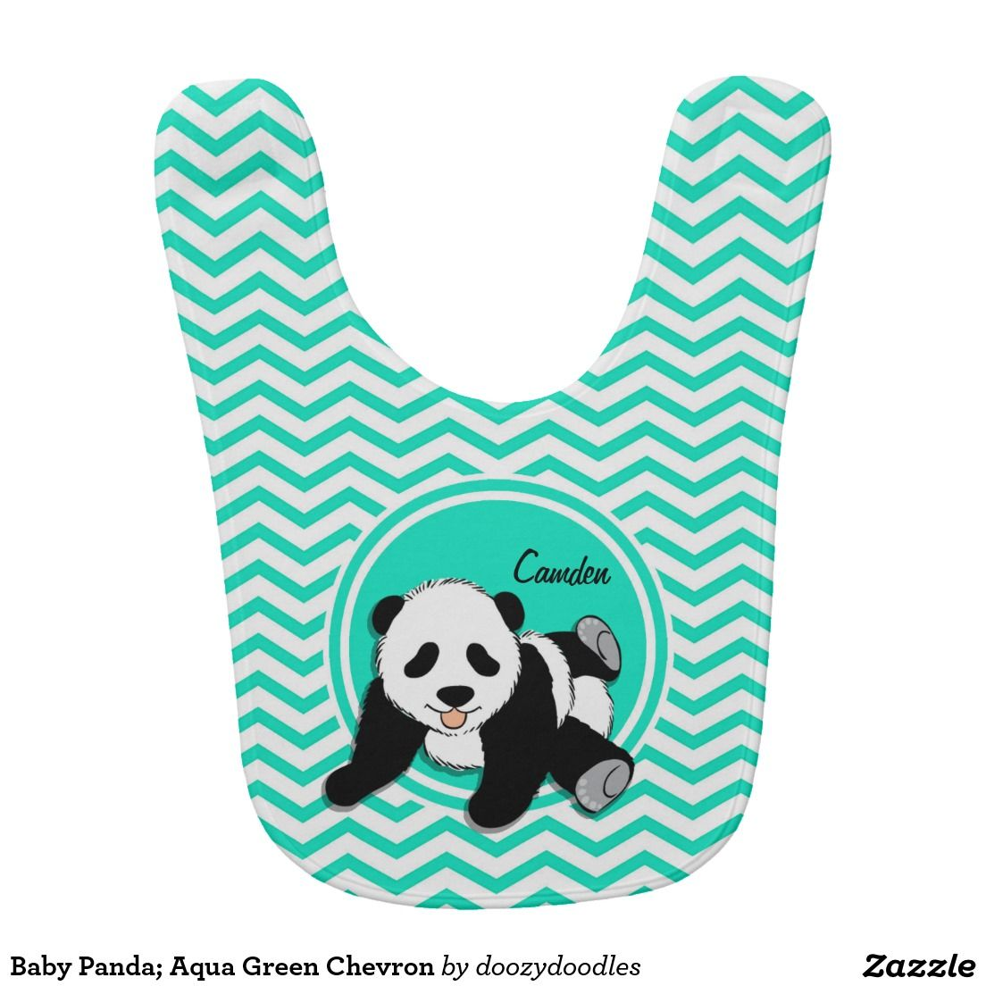 Baby Panda; Aqua Green Chevron