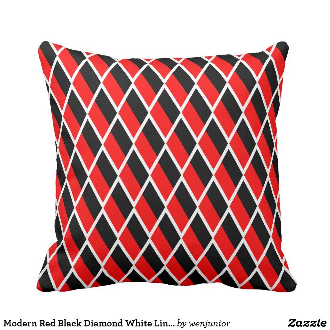 Modern Red Black Diamond White Line Pattern Custom Throw Pillow Pillows Stylish Pillows Decorative Throw Pillows