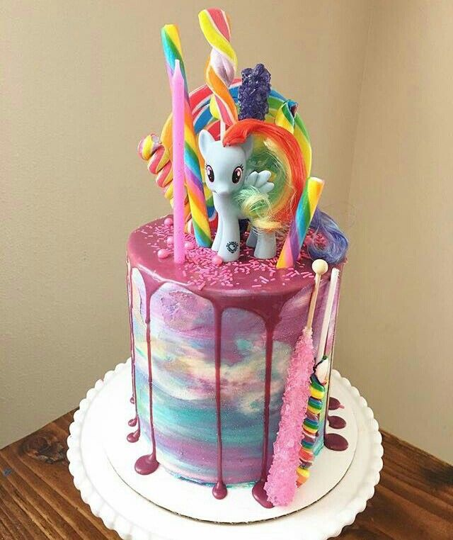 Rainbow Buttercream Rosettes My Little Pony Birthday Cake By