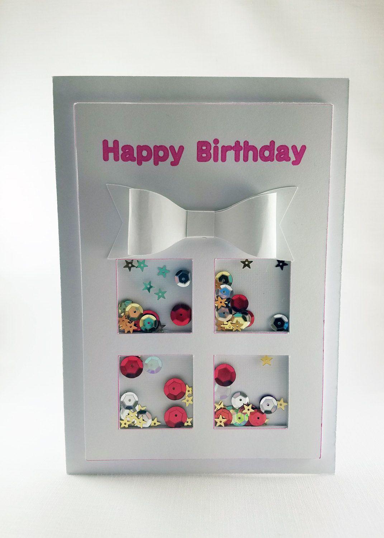 Happy Birthday Shaker Card Handmade White Elegant Greeting Card