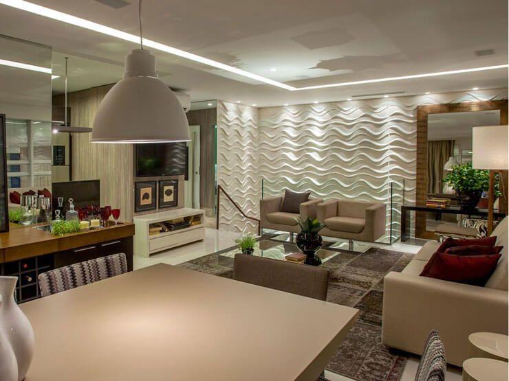 Decoracao De Sala Gesso ~ Parede de sala decorada com ondulações no gesso  Apartamentos