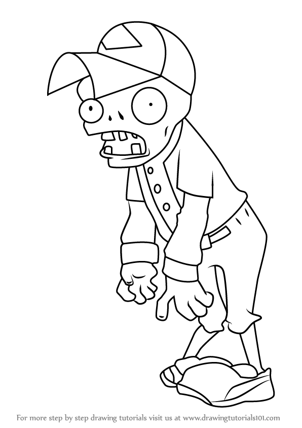 Learn How To Draw Baseball Zombie From Plants Vs Zombies Plants Vs Zombies Step By Step Drawing Tut Super Mario Coloring Pages Character Drawing Drawings