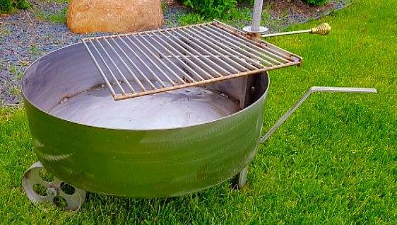 Stainless Steel Fire Pit Tub With Swivel Grill I Build This Style 30 Diameter And 36 Diameter X 8 Stainless Steel Fire Pit Steel Fire Pit Steel Fire Pit Ring
