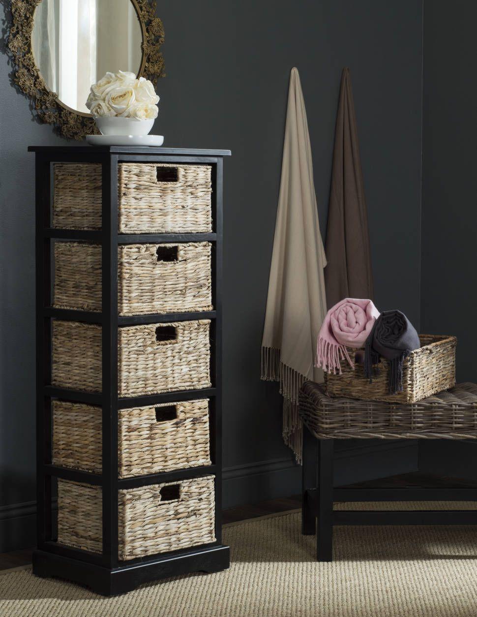 Santa Cruz 5 Drawer Accent Chest Wicker Baskets Storage Storage Baskets Wicker Dresser [ 1254 x 970 Pixel ]