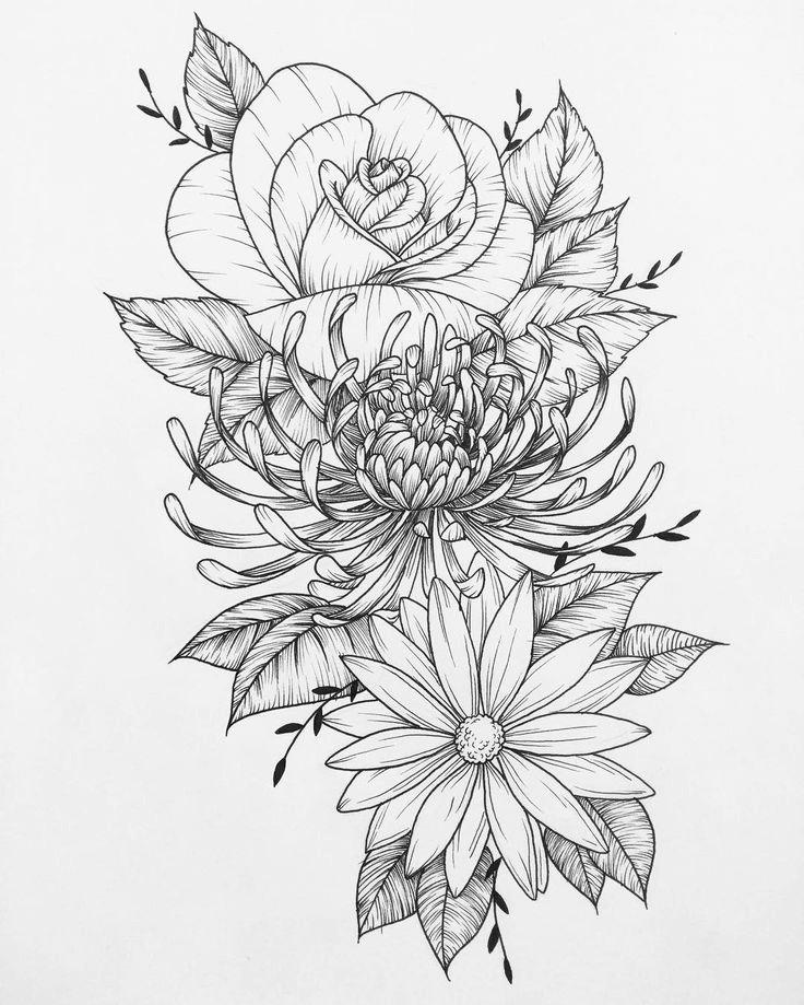 Chrysanthemum Sketch Tattoo Chrysanthemum Tattoo Flower Tattoo Drawings Colorful Flower Tattoo