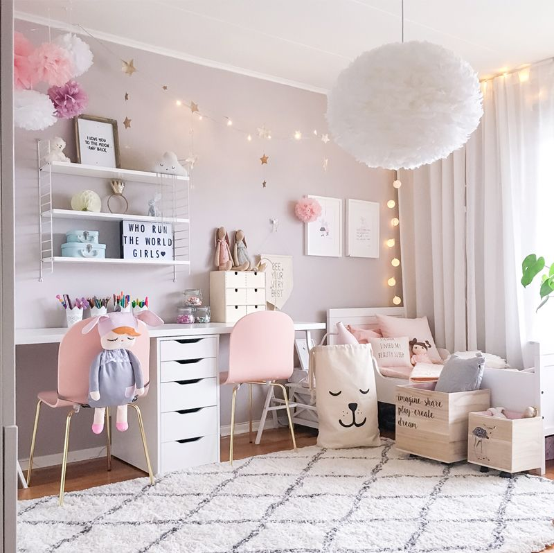 A scandinavian style shared girls 39 room by pink walls dusty pink and pom poms - Room for girls ...