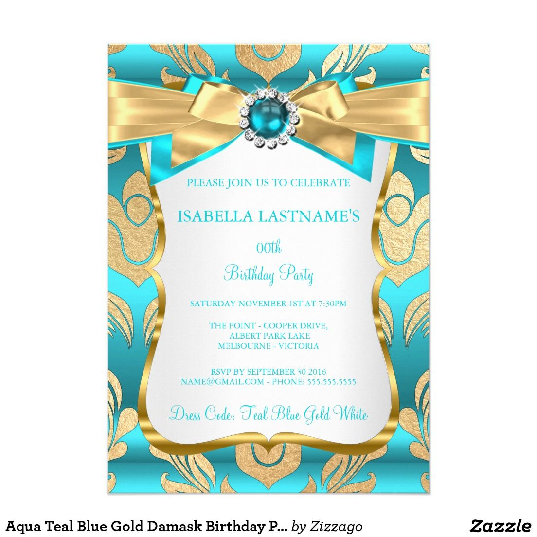 Aqua Teal Blue Gold Damask Birthday Party Invite | Blue gold, Teal ...
