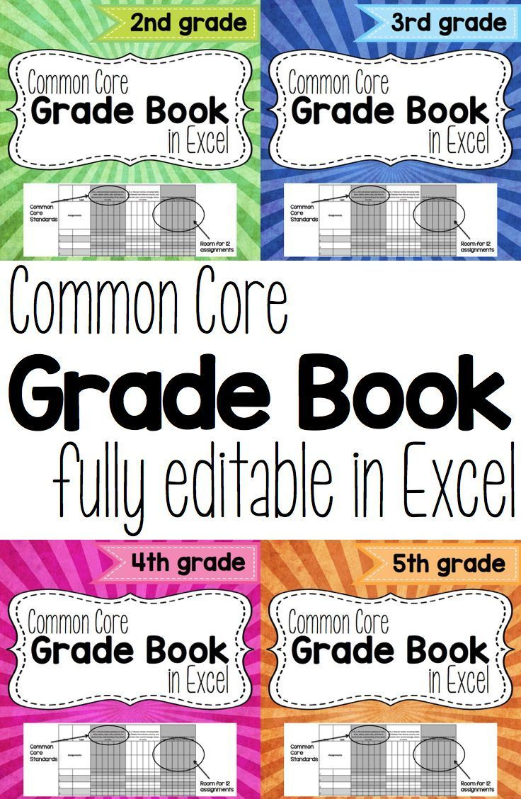 Common Core Grade Book in Excel. This grade book is fully editable ...