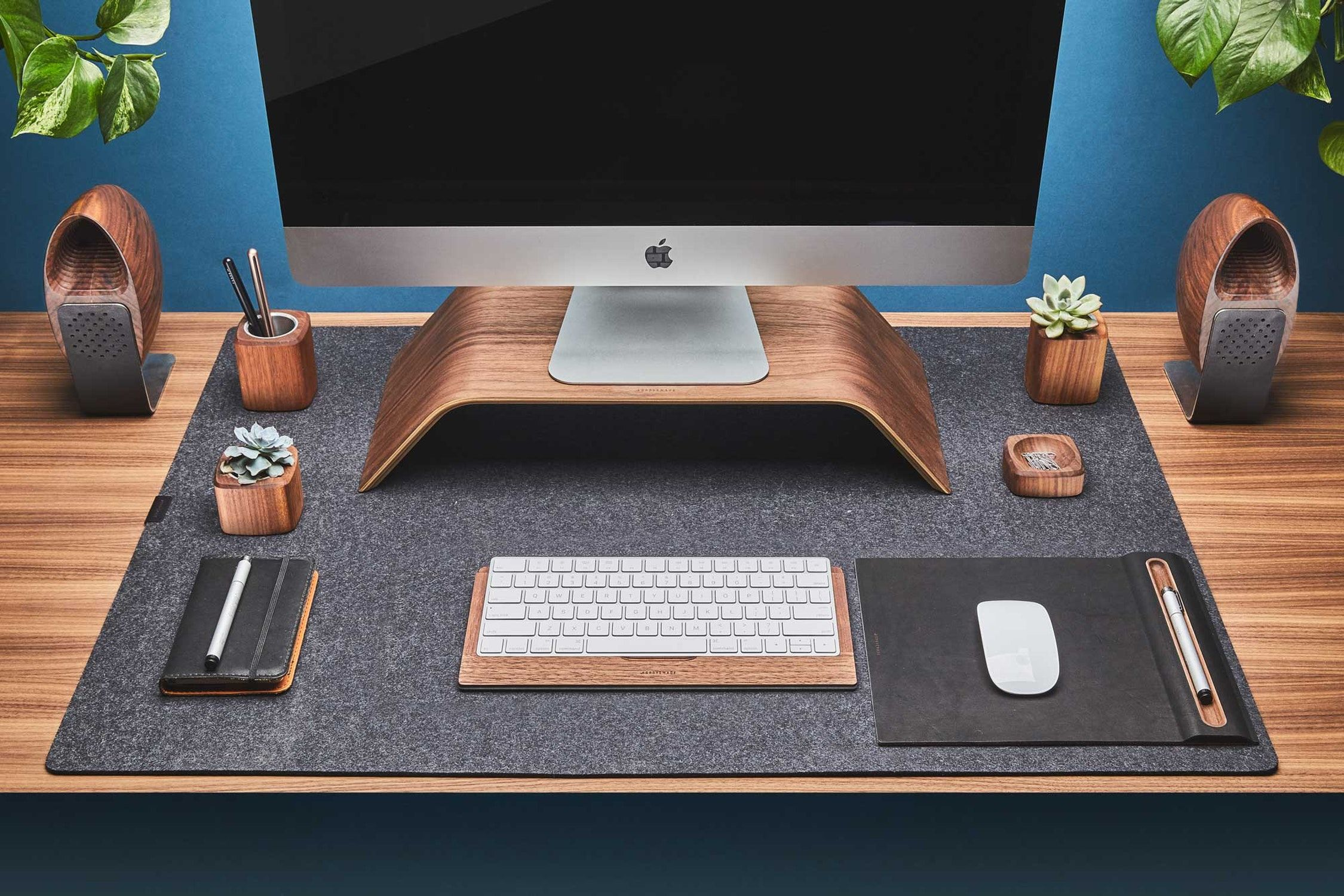 Walnut Wood Desk Collection With Walnut Keyboard Tray Monitor Stand