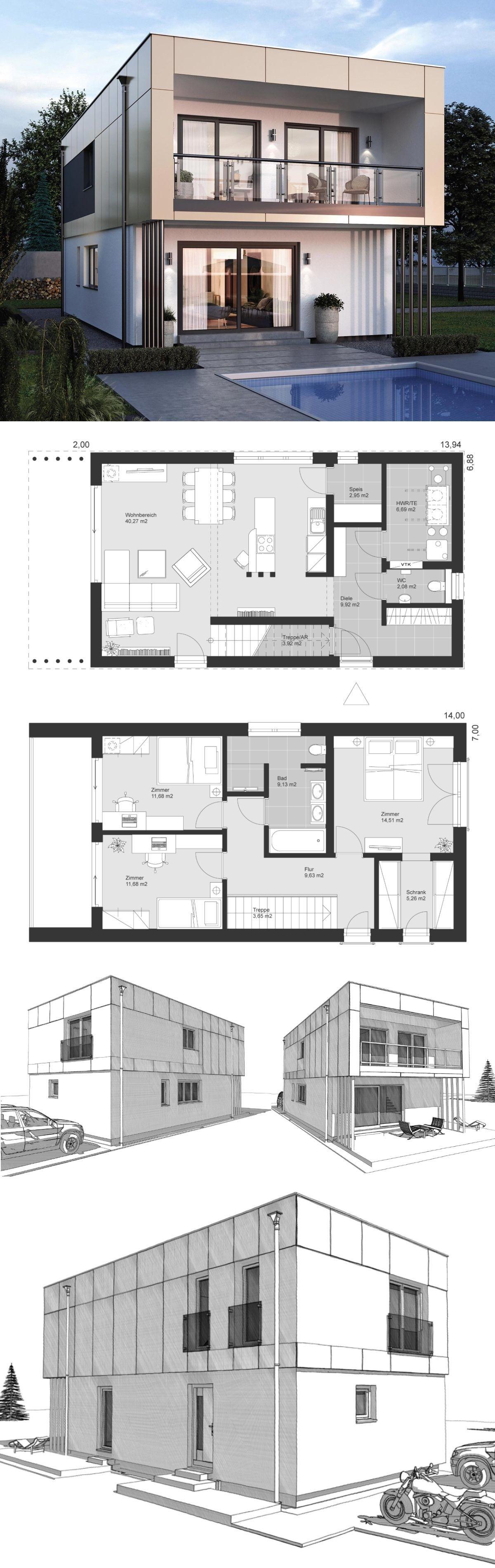 Haus flur design-ideen design haus modern mit flachdach architektur im bauhausstil