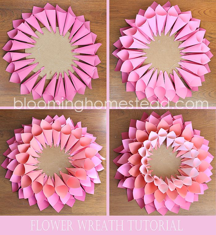 diy spring wreath pinterest papierblumen basteln mit papier und t rkr nze. Black Bedroom Furniture Sets. Home Design Ideas