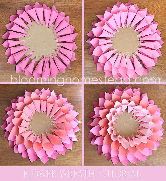 DIY Spring Wreath | Papierblumen, Basteln mit papier und Türkränze