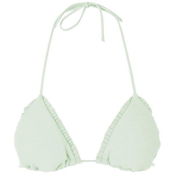 d2346fc095 Topshop Frill Ribbed Triangle Bikini Top ( 21) ❤ liked on Polyvore  featuring swimwear