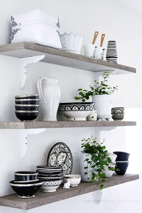 Skandinavische Küche schwarz weißes Geschirr Küche skandinavisch