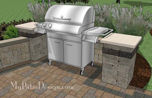 Backyard Brick Patio Design with Grill Station, Seating Wall and ...