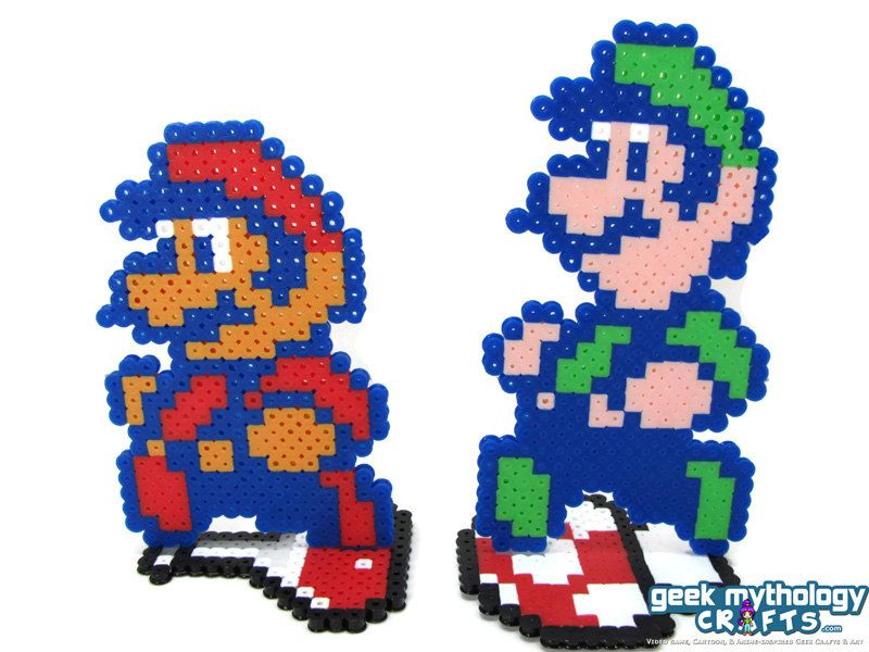 Super Mario Bros 2 Perler Bead Sprite Figures With Stands By