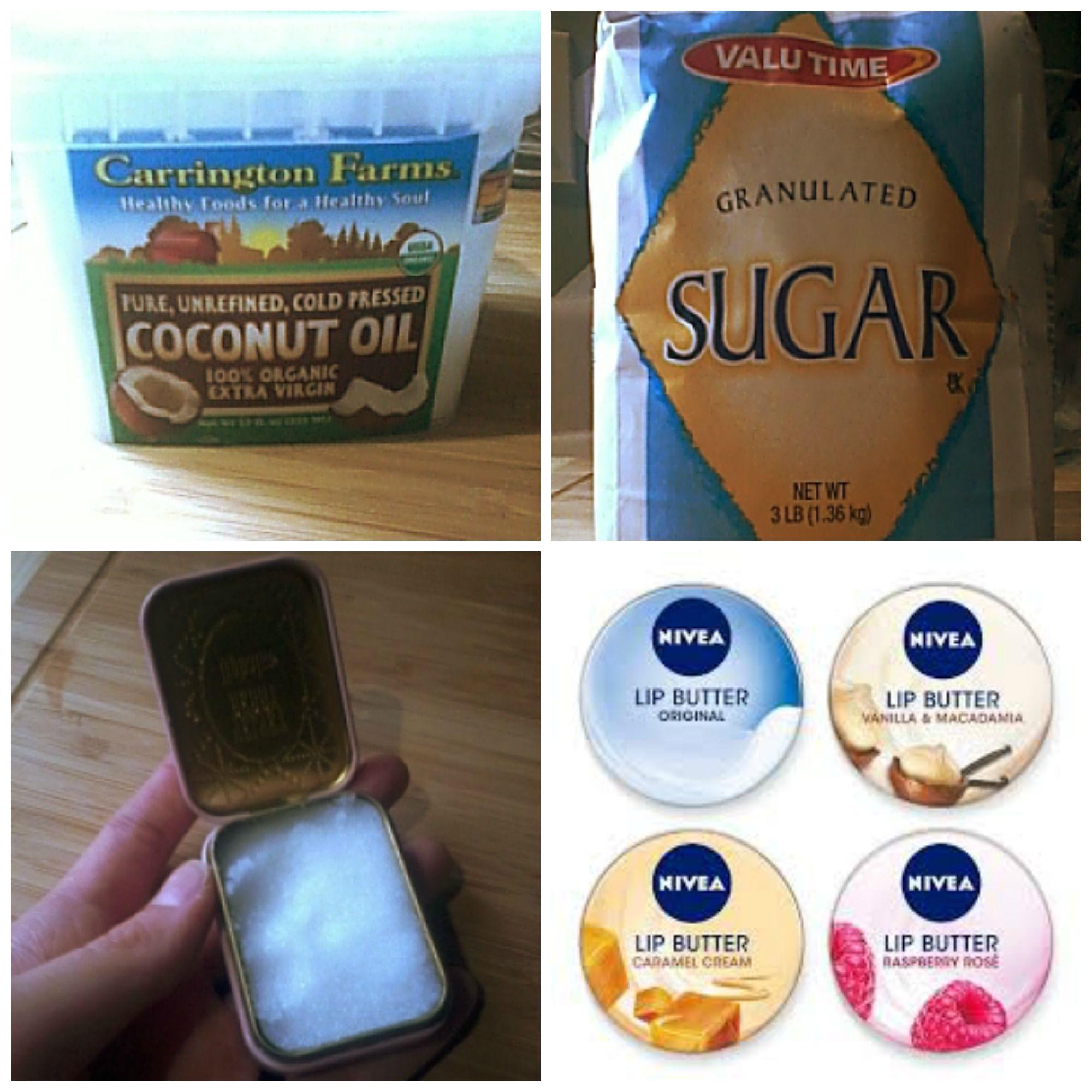 Lip Scrub Recipe: Mix cocnut oil with sugar!! I put my scrub in a ...