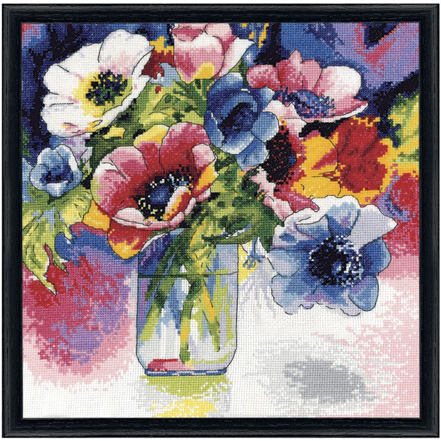 Anemones - Cross Stitch, Needlepoint, Embroidery Kits – Tools and Supplies