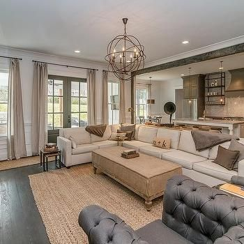 Ivory Sectional With Gray Pillows Vintage Living Room