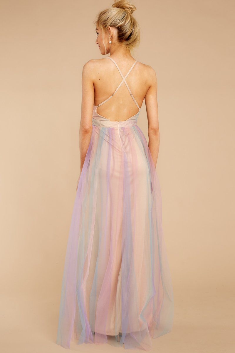 rainbow tulle dress womens