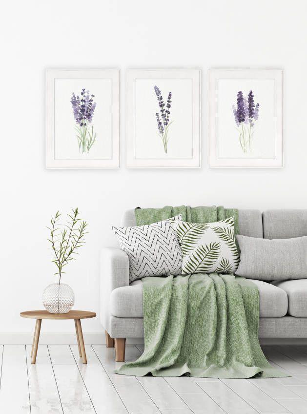 lavender set 3 watercolor art prints canvas painting
