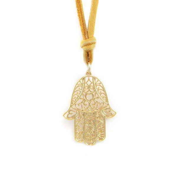 Large Hamsa Lace Outline Charm Blonde Deerskin Beaded Leather Necklace