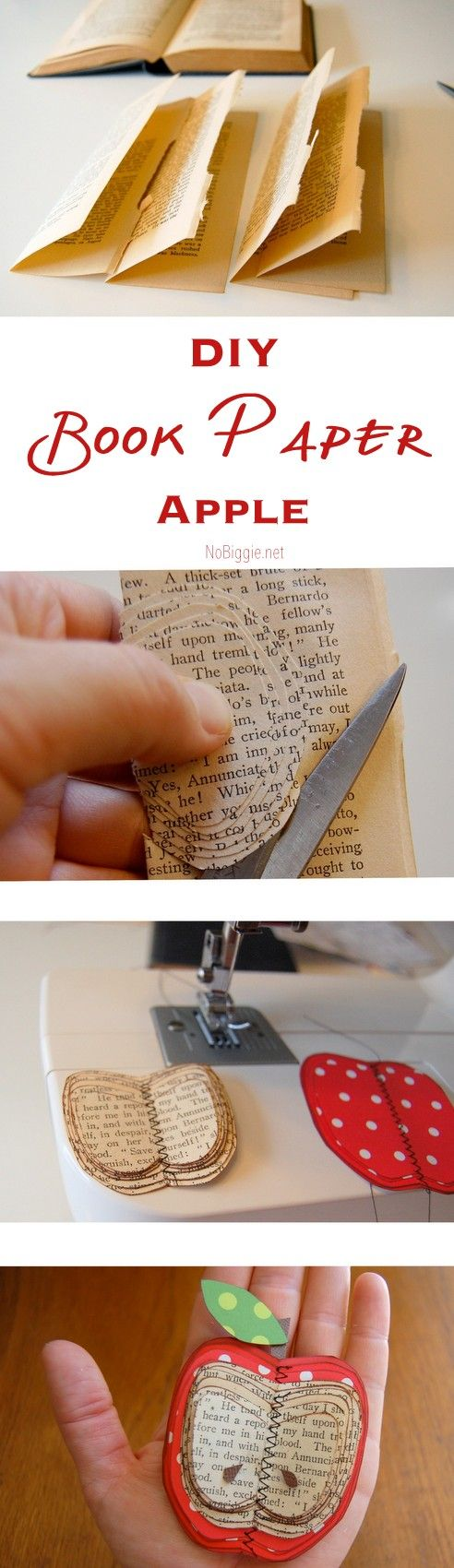 DIY book paper apple - make this fun paper craft with cool vintage book paper | NoBiggie.net:
