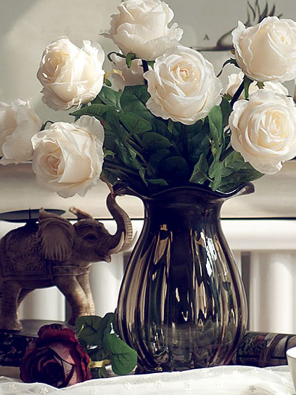 Shop Classical Rose Artificial Flower And Glass Vase Online At