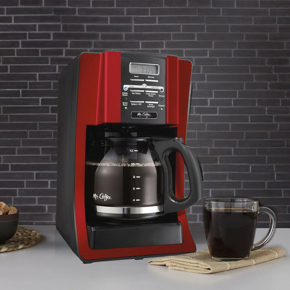 Mr Coffee Advanced Brew 12 Cup Programmable Coffee Maker Red Mrcoffee Coffee Maker Cleaning Red Coffee Maker Coffee Maker